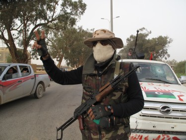 Rebels' blockpost near Bengazi, Libya. Image by al-mak, copyright Demotix (03/03/11).