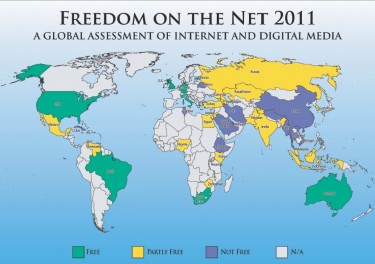 A map representing internet freedom, from Freedom House's report