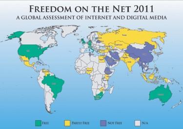 Карта Свободы интернета из доклада Freedom House
