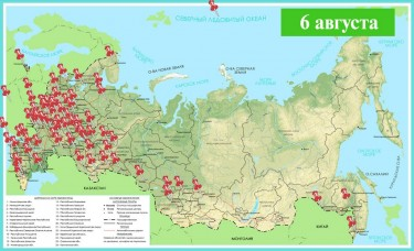 Map of cities where the 'Bloggers Against Garbage' action took place, by Sergei Dolya.