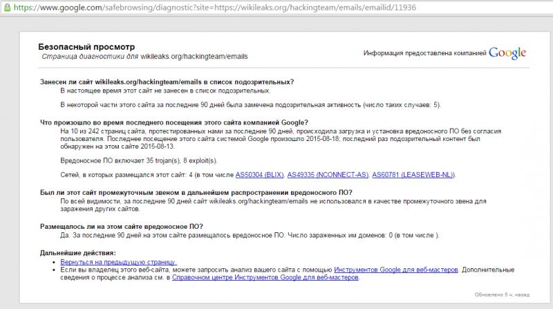 Скриншот информации о безопасном просмотре от Goggle для вложения из слива Hacking Teamк письму с идентификационным номером 11936. Скриншот сделан 22 августа 2015 года.